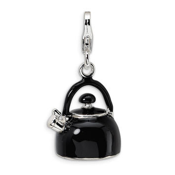 Sterling Silver 3-D Enameled Black Tea Kettle w/Lobster Clasp Charm QCC272
