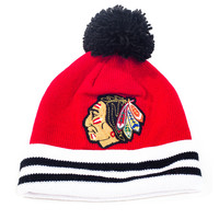 Caps - Knit - Mitchell and Ness Striped Cuff Knit Beanie with Pom - Chicago Blackhawks - DTLR - Down Town Locker Room. Your Fashion, Your Lifestyle! Shop Sneakers, Boots, Basketball shoes and more from Nike, Jordan, Timberland and New Balance