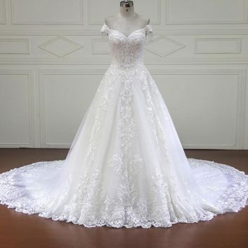 Wedding dress bridal gown ball gown sweetheart Off the Shoulder floor length
