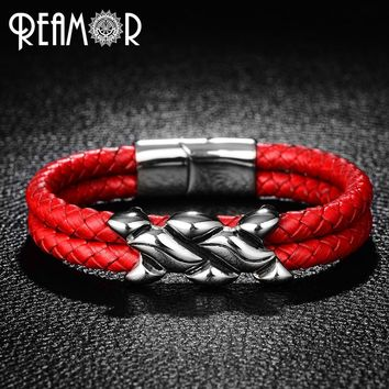 REAMOR 316L Stainless Steel Irregular Beads Woman Cuff Bracelets Trendy Red Double Layers Leather Bracelet Bangles Men Jewelry