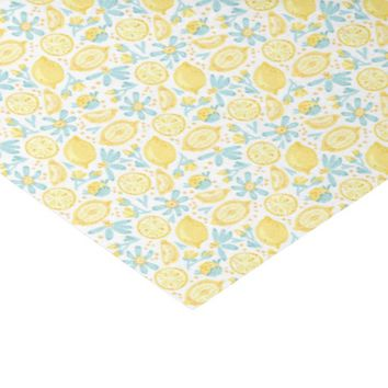"Yellow Lemons & Pastel Blue Flowers Pattern 10"" X 15"" Tissue Paper"
