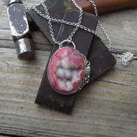 Sterling silver necklace with a pink Rhodochrosite by Billyrebs