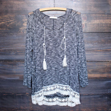 grey two tone lightweight boho pull over sweater tunic hoodie with lace hem