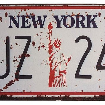 ERLOOD NEW YORK TJZ 243 Retro Vintage Auto License Plate Home Wall Decor Metal Tin Sign Plaque Embossed Tag Size 6 X 12