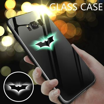 Batman Dark Knight gift Christmas Marvel Iron Man Batman Glass Case For Samsung Galaxy s8 s9 Plus Glow In The Dark Case For Note 8 9 Spiderman Black Panther Case AT_71_6