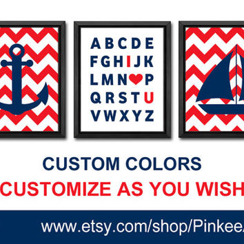 nautical kid art nursery decor chevron toddler nursery art I love you alphabet kids room decor abc I love you sailor boy nursery baby gifts