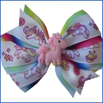 "50 BLESSING Girl 4.5"" Two Tone Wendy Hair Bow Clip Rainbow Unicorn Pony Hairbow"