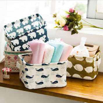 Hoomall Brand Storage Basket Cute Linen Desk Storage Box Holder Jewelry Stationery Office Organizer Case Organizer For Cosmetics