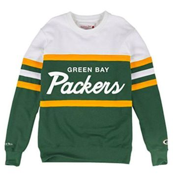 Green Bay Packers Mitchell & Ness Nfl Head Coach Premium Crew Sweatshirt - Beauty Ticks