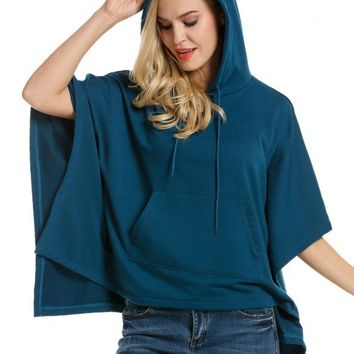 Blue Women Hooded Pullover Casual Batwing Poncho Cape Hoodie Sweatshirt