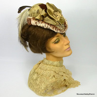 Victorian Reproduction Straw Walking Hat Late 1800s to Early 1900s - Handmade - Vintage Velvet Flower -Rhea Feathers -Vintage Straw & Velvet