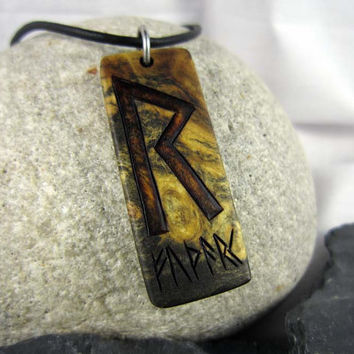 Raido Rune Necklace, Viking Rune Pendant, Elder Futhark Runes Necklace, Viking Necklace, Symbol of Journey Necklace