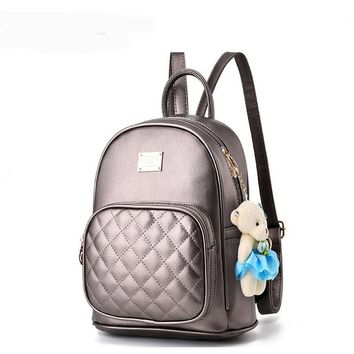 Free Shipping Leather Backpack New Style Solid Color Student High Quality Zipper Backpacks Casual Women Bags 38T