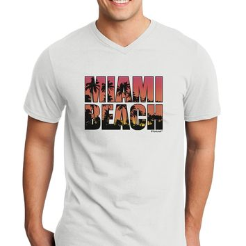 Miami Beach - Sunset Palm Trees Adult V-Neck T-shirt by TooLoud