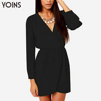 YOINS 2016 New Sexy Black Deep V Neck Wrap Front Mini Dress Long Sleeve Elastic Waist Party Wear Casual Slim Vestidos Femininos
