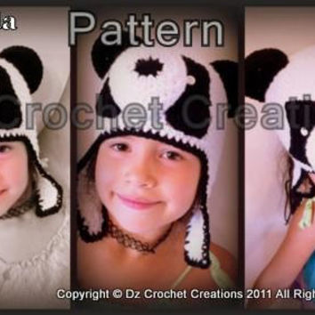 CROCHET PATTERN Panda Bear Hat INSTANT Download / Crochet Pattern Panda Bear earflap hat / Crochet Panda Hat / Panda Hat for pictures
