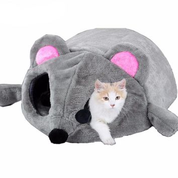 Grey Cat Mouse Bed