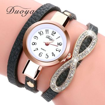 Women Luxury Leather Infinity Crystal Charm Bracelet Watch