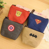 South Korea version of creative hero alliance Canvas Wallet zero Key Purse personality coin bag bank card storage bag