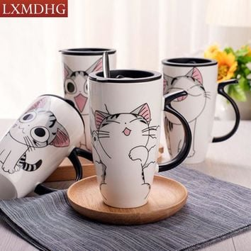 600ML Cat Animal Pattern Coffee Mug Porcelain Tea Milk  Set With Creative Ceramic Spoon Saucer European Bone China Drinkware