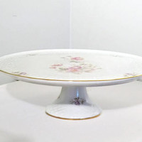 Porcelain Cake Stand Shumann Germany, Wedding Cake Display with Roses, Vintage Serving Tray