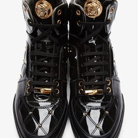 Indie Designs Gold Medusa Quilted Patent Leather Sneakers