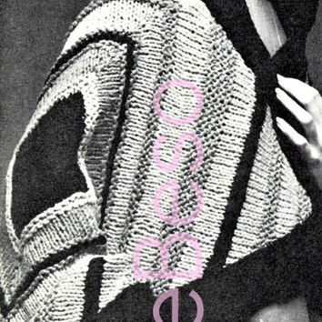 1960s Unique SHAWL Instant PDF Vintage KNITTING Pattern Colorful and Super Short Pattern-Jacket Hippie Retro Chic Bohemian Clothing