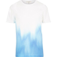 River Island MensWhite blue faded print short sleeve t-shirt