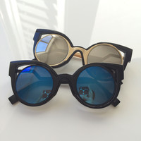 Double Frames Cut out Cat Eye Sunglasses