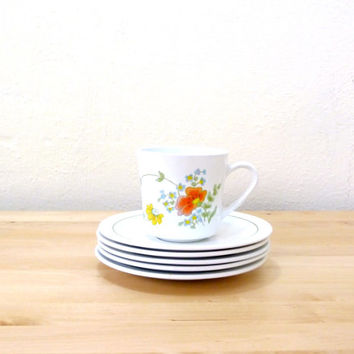 Vintage Centura Wildflower Mugs / Cups and Saucers / Floral Mugs / Corning Mugs / Corning Ware Dishes