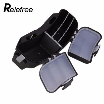 Relefree Fishing lure Biat Plastic Box durable Portable Multifunction Hooks Reels Storage Bag Waist Belt Fishing Tackle  Box