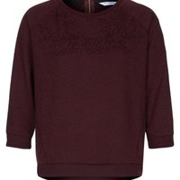 New Look Mobile | Burgundy Shrunken Floral Jacquard Sweater