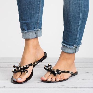 Bow Studded Black Jelly Sandals