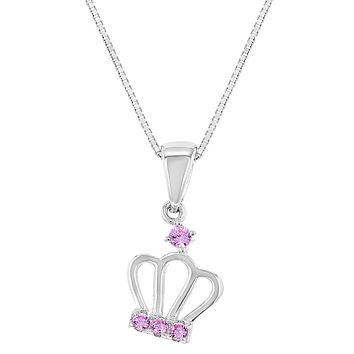 925 Sterling Silver Pink CZ Queen Princess Crown Pendant Girls Kids Necklace 16""