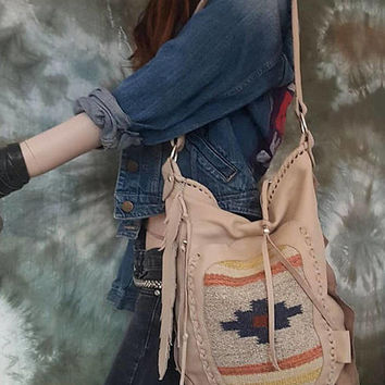 Ivory beige southwestern western hobo navajo navaho tribal indian cowgirl southwest leather antique kilim maian bag sweetsmokebags woolen