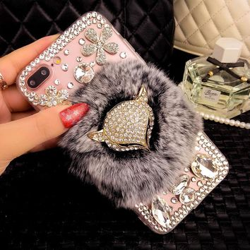 For iPhone 7 Case Rabbit Hair Fur Diamond Fox Head Rhinestone Bling Case For iPhone 7 Plus 6 6S Plus 6 6S 5S 5 SE Phone Cover