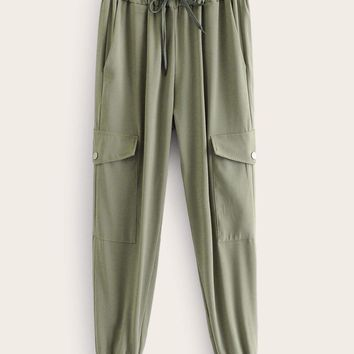 Pocket Side Drawstring Waist Cargo Pants
