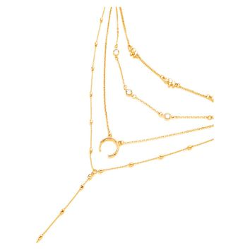 Gold Elephant Horn Delicate Layered Necklace