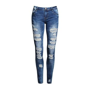 Boyfriend Jeans Women Pencil Pants Trousers Ladies Casual Stretch Skinny Jeans Female Mid Waist Elastic Holes Pant Fashion 2017