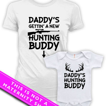 Matching Mommy And Me Clothing Pregnancy Shirt Daddy's Hunting Buddy Baby Bodysuit Matching Family Shirts Pregnancy Clothes MAT-598-599