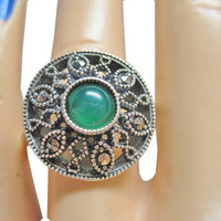 Vintage Green Onyx Marcasite Ring Size 9 925 Sterling