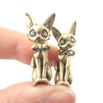 3D Kitty Cat Shaped Two Part Front and Back Dangle Earrings in Brass | DOTOLY
