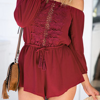 Red Off Shoulder 3/4 Sleeves Drawstring Playsuit