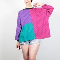 Vintage 80s Tshirt Pink Teal Green Purple Color Block T Shirt Boxy Oversized Tshirt New Wave Mod Pailsley Print Top L XL Extra Large XXL