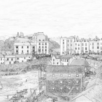 Tenby Harbor Pencil Sketch 3 Art Print by Steve Purnell