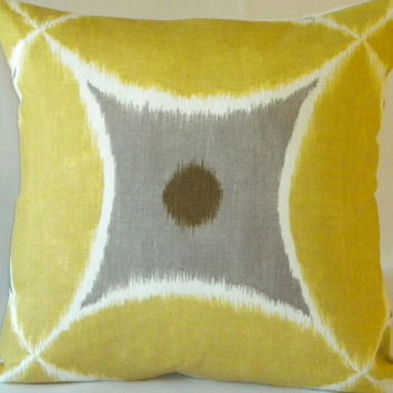 Decorative Pillow Cover Yellow Ikat Pewter18x18