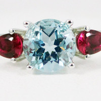 Sky Blue Topaz and Ruby Pear Accents Ring Sterling Silver 925, December Birthstone Ring, Ruby Accent Ring, Sky Blue Topaz Ring