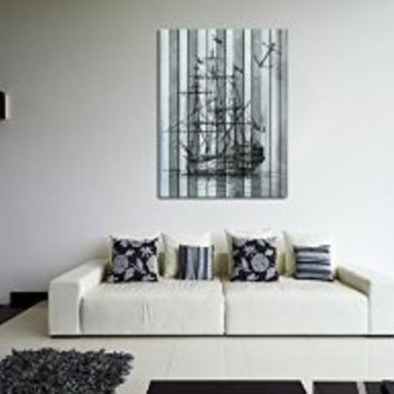 canik187 Canvas Print Artwork Stretched Gallery Wrapped Wall Art Painting ship frigate sea anchor  Size 26x32""