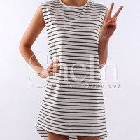 White Sleeveless High Low Striped Dress -SheIn(Sheinside)