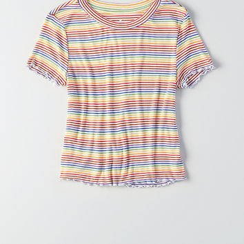 AEO Soft & Sexy Ribbed Lettuce Edge T-Shirt, Yellow